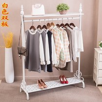 Simple modern iron coat rack hanger floor bedroom simple clothes hanging bag rack home economy European