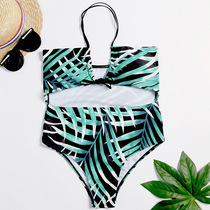 e7810459e1f 2019 new European and American sexy swimsuit digital printing BAO WEN  hollow trade ladies swimsuit quick