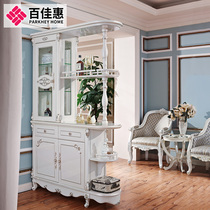 ParknShop pearl white light room cabinet solid wood double-sided door Cabinet wine cabinet living room partition 3095