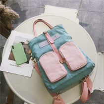 New foldable shoulder bag female double Pocket Portable diagonal three-backpack girl heart hit color multi-purpose canvas bag