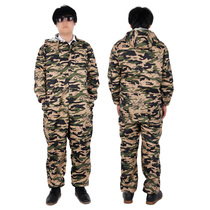 Long-sleeved camouflage one-piece overalls mens hooded jumpsuit maintenance machine repair clothes dust-proof anti-pollution clothing labor protection clothing