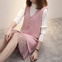 Fat sister spring new sweater vest dress western style suit large size womens fat mm knit two-piece