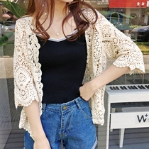 2019 summer new Korean air conditioning with skirt knit hollow cardigan thin shawl sunscreen jacket