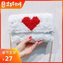 Hand-woven bag diy material bag a full set of homemade hand-woven bag knitted mesh red with the production of velvet female bag