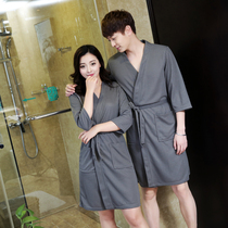 Seven-sleeve hotel bathrobe cotton robe bathrobe men and women summer thin section Waffle bathrobe couple beauty salon dedicated