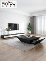 Italian minimalist square ins designer modern living room TV cabinet simple coffee table combination Nordic cabinet.