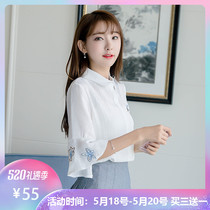2019 summer new white chiffon shirt female seven speaker sleeves Korean loose embroidery shirt small fresh shirt