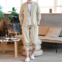 Tang suit young men Chinese style large size hanfu mens ancient style short-sleeved suit seven sleeves Chinese tide thin section two-piece suit