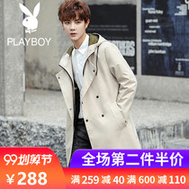 Playboy Jacket Mens windbreaker in the long section of the Korean version of the fall 2019 new coat mens spring and autumn handsome coat