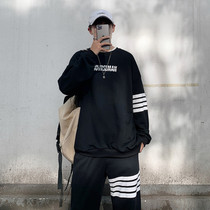 Striped sweatshield suit mens Korean version of Chao Shuai loose-necked long-sleeved port fashion card casual sportswear two-piece set.