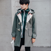 My first half-life congratulatory letter the same mens horn buckle hooded woolen coat male big code medium long Windbreaker jacket