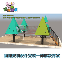 Kindergarten outdoor large toys wooden climbing frame swing bridge children outdoor wooden slide sense training equipment