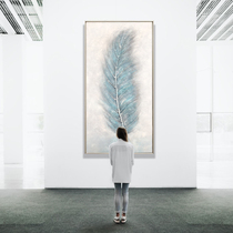 Nordic porch painting vertical corridor aisle decoration painting living room Paintings Modern Minimalist hand-painted oil painting blue feather