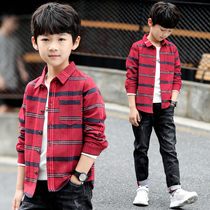 Childrens Wear boy autumn shirt 2018 new child long-sleeved Chinese winter dress plus velvet plaid shirt Korean version tide
