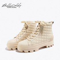 Bella Lily 2020 New Ringer Casual Thick-bottomed Martin Boots Stylish British Outdoor Boots Little Leather Boots.