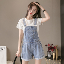 Denim strappy trousers loose-fitting thin short-sleeved T-shirt jumpsuit broad-legged A-word shorts small two-piece suit girl summer.