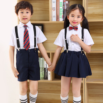 Summer pupils Chorus performance clothing children's day reading performance clothing dress boys and girls strap school uniform spring