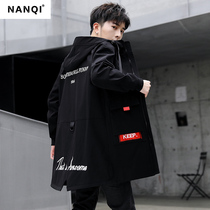 Mens jacket 2019 spring and autumn new Korean version of the long section of the windbreaker Junior High School students jacket trend on the clothes