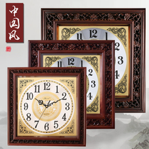 Yisen Chinese solid wood wall clock living room square clock Chinese wind watch box clock large conference room quartz clock.