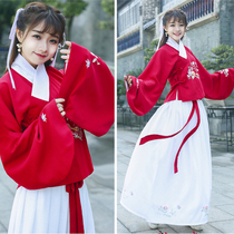Antique Ming coat skirt improvement Han suit autumn dress female red top embroidery waistbands skirt Chinese wind students autumn and winter set
