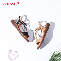 (Store delivery) aokang shoes 2019 summer new fashion Rhinestone flat bottom strap Roman sandals women