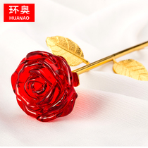 Crystal Rose Tanabata gift to give girlfriend wife birthday souvenir creative practical Ornaments Valentine's Day gifts