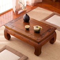 Kang table solid wood floating window table tatami coffee table Zen Italy antique old elm Kang several low table balcony small coffee table home