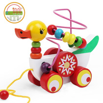 Drag toddler toys pull car infant children trolley hand pull rope pull line toy car 1-3 years old baby toys
