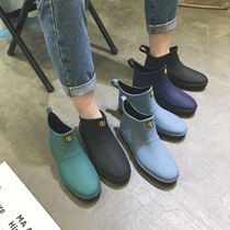 Kitchen water shoes rain boots mens youth short tube low to help Korean fashion waterproof non-slip work shoes rain boots trend