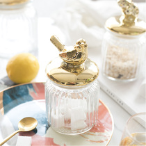 Nordic luxury gold-plated glass sealed storage tank cotton swab storage decoration ornaments grocery storage American