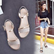 2019 summer new Korean version of the simple open toe flat casual sandals female summer word buckle wild student shoes
