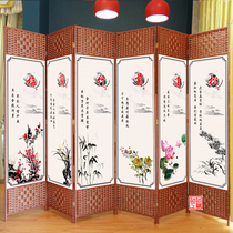 Chinese screen folding mobile simple modern living room bedroom decorative wall entrance double-sided fabric folding screen small apartment