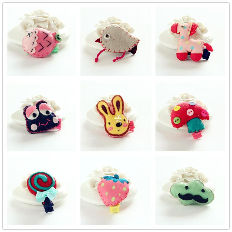Korean version of the new childrens hair jewelry cute fabric animal all-inclusive hair card side clip baby safety Liu Hai clip top clip.