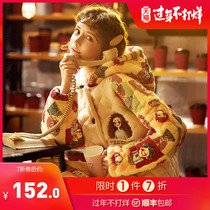 Pajamas women autumn and winter three layers of padded thick warm coral velvet cotton jacket two sets of cartoon cute home clothes