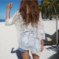 South Korea lace cardigan jacket female net yarn rose sun clothing beach clothing in the long section of the bikini cover shirt