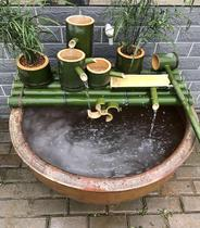 Bamboo tube water circulating fish basin stone Mill Decoration Office outdoor household Filtration decoration Villa water Wheel