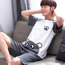 Mens pajamas summer short-sleeved cotton thin section boy cartoon youth summer cotton student home service suits