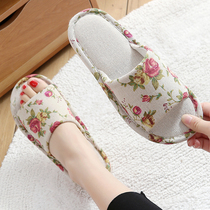 Slippers Ladies Home spring and summer tide 2019 new indoor non-slip soft bottom Home couple home floor hemp