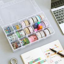 Simple and transparent removable paper tape storage box accounting tools and paper tape around the storage box 15 grid