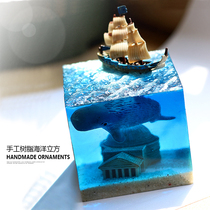 Handicrafts resin dijiao Paper Town finished cultural and creative products creative gifts square ornaments Ocean Whale jewelry