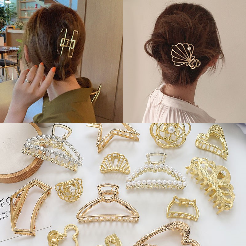 Korean elegant temperament hair clip back of the head hair pearl clip clip clip large pill hair bag medium hair card.