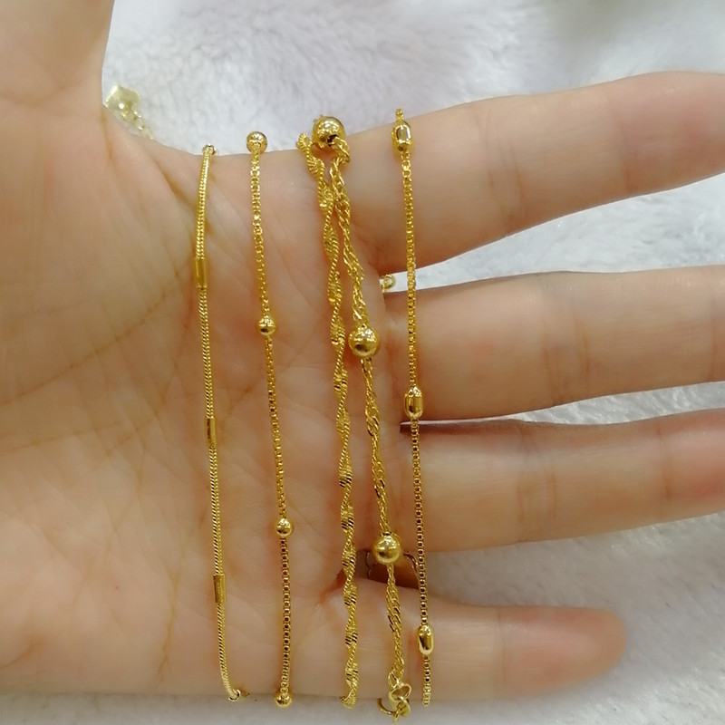 Europe and the United States exquisite ultra-fine brass plated real gold special fine womens bracelets and chains for a long time not to lose color copper jewelry source.