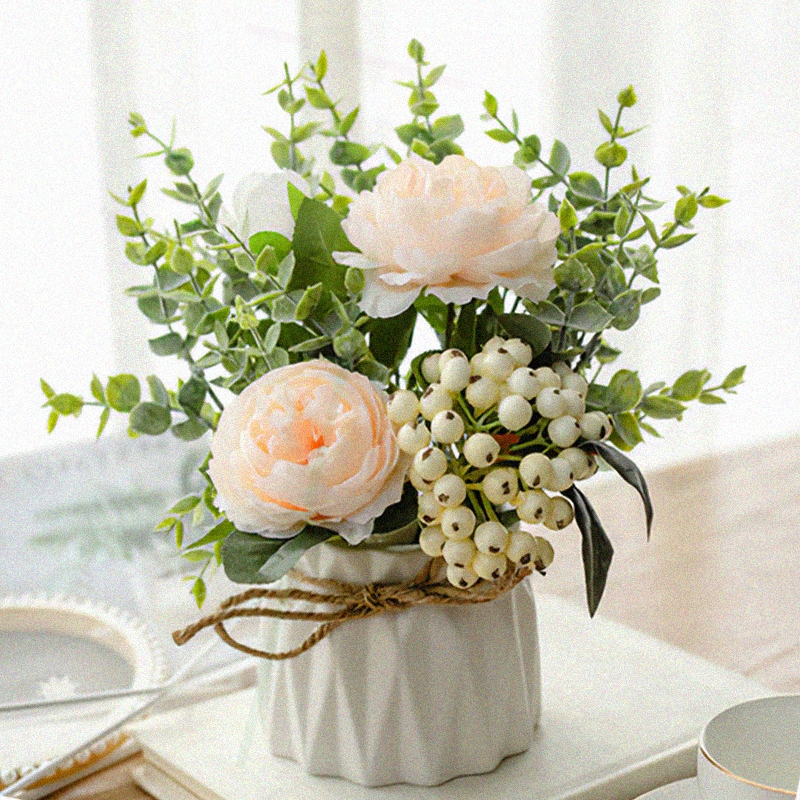 Nordic simulation flower living room set table surface flower anti-plastic bouquet decoration flower potted small ornaments fake flowers.