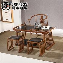 Sunscreen with tea set tea sea tea table tea table balcony stool combination set multi-functional tea table tea