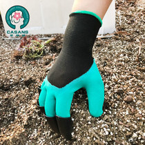 Protection waterproof planting flower gardening gloves latex dipped paw garden dredging dredging gloves