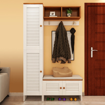 Shoe cabinet modern minimalist into the door locker multi-functional hall cabinet partition cabinet with change shoe stool coat hanger secret cabinet