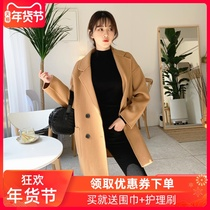 Korea Dongdaemun 2019 autumn and winter double-sided cashmere coat women in the long section of pure woolen loose version of thick coat