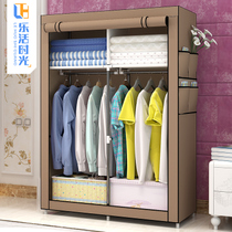 Simple wardrobe fabric steel frame assembly storage closet dust folding lockers dormitory bedroom home cloth wardrobe