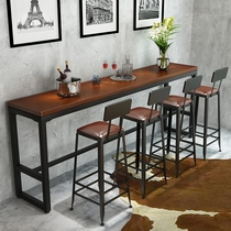 Solid wood high-foot bar table and chairs home living room combination by the wall bar partition long table KTV milk tea shop tables and chairs