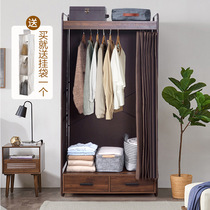 Modern simple wooden wardrobe simple wardrobe fabric single double home dormitory iron frame bold reinforcement Assembly wardrobe